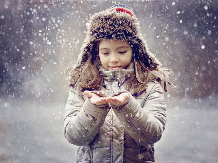 Child and snow